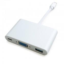 Адаптер Extradigital USB Type-C to VGA/USB 3.0/Type-C (0.15m)